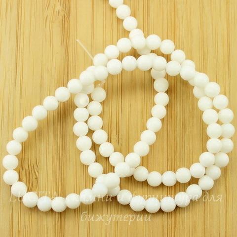 Бусина Жадеит, шарик, цвет - белый, 4 мм, нить