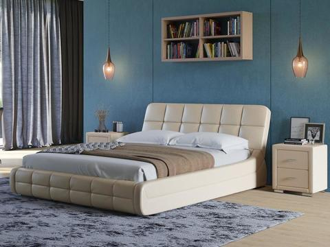 Кровать двуспальная Corso 6 Экокожа бежевый перламутр