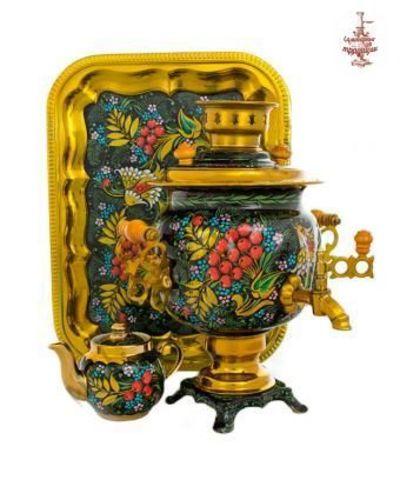 Самовар электрический «Цветущая рябина» формой овал 3л в наборе с подносом и чайником