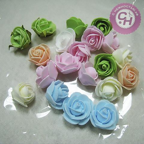 Цветок розы круглый 3-3,5 см (фоамиран).