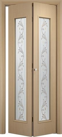 Дверь складная Верда С-21 (х) Вьюн (2 полотна), стекло Сатинато (вьюн), цвет беленый дуб, остекленная