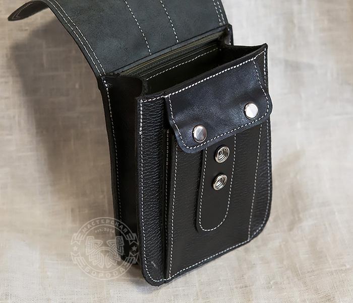 BAG379-1 Мужская сумка на пояс из натуральной кожи, ручная работа фото 04