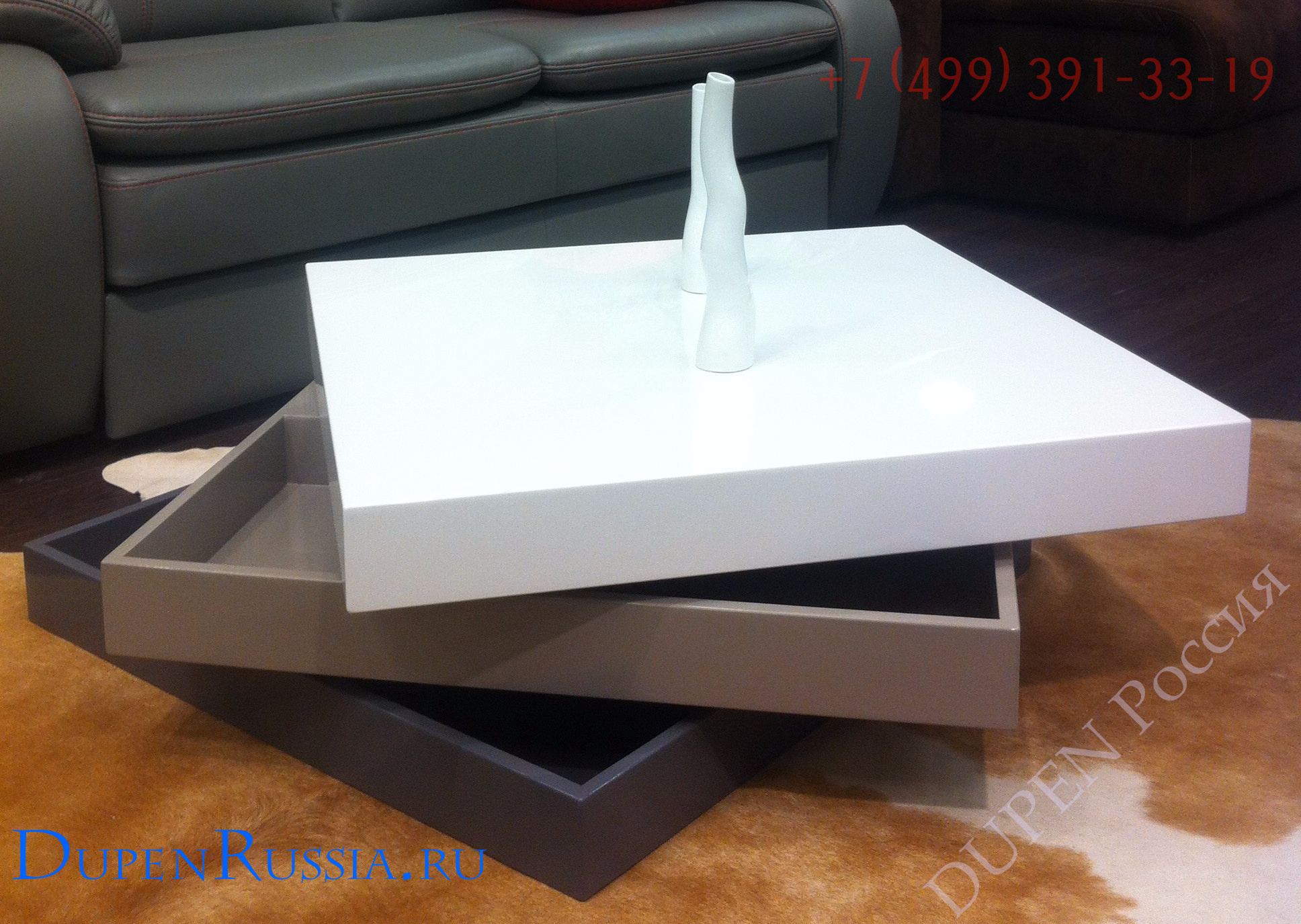 Стол журнальный ESF CT1001 белый/серый