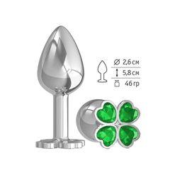 Серебристая анальная втулка с клевером из зеленых кристаллов - 7 см.