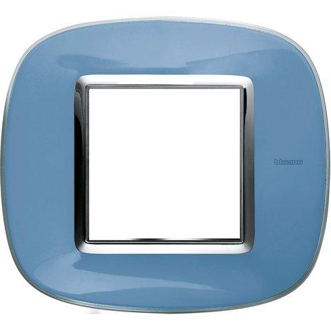 Рамка 1 пост, овальной формы. ПРОЗРАЧНЫЕ. Цвет Голубая карамель. Немецкий/Итальянский стандарт, 2 модуля. Bticino AXOLUTE. HB4802DZ
