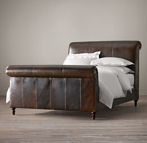 Ellsworth Leather Sleigh Bed With Footboard