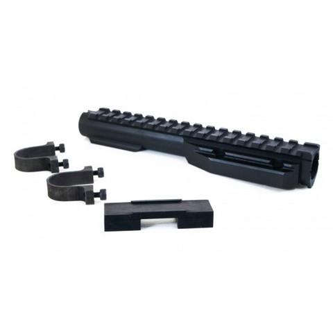 Газовая трубка с планкой Вивер VS-33х для нарезных карабинов АК/Сайга/Вепрь (крепеж - хомуты) / Вежливый стрелок