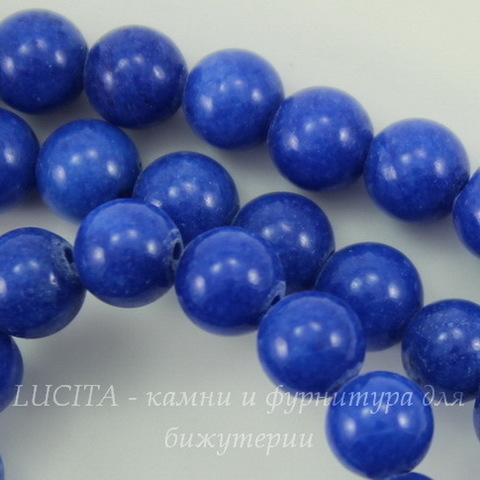 Бусина Жадеит (тониров), шарик, цвет - синий, 6 мм, нить