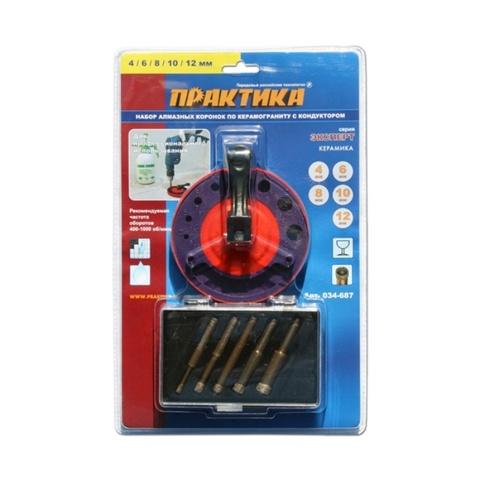 Набор коронок алмазных ПРАКТИКА 5 шт  4, 6, 8, 10, 12 мм с кондуктором (блистер)