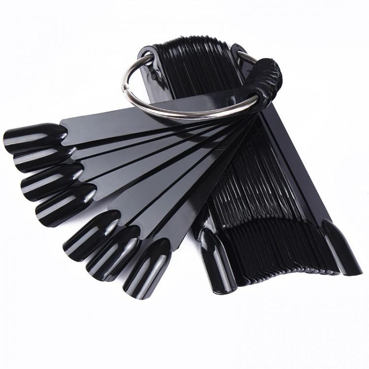 Палитра для ногтей черный (на кольце, 50шт.) длина 11 см