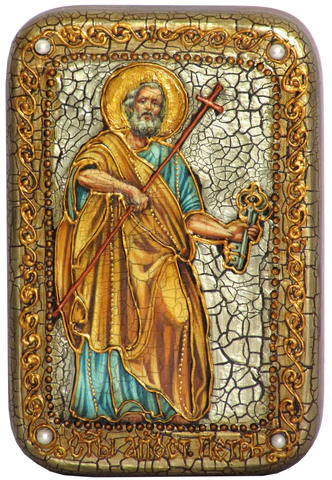 Инкрустированная Икона Первоверховный апостол Петр 15х10см на натуральном дереве, в подарочной коробке