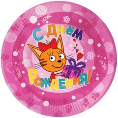 Тарелки Три Кота розовые 6 шт/ 18 см.