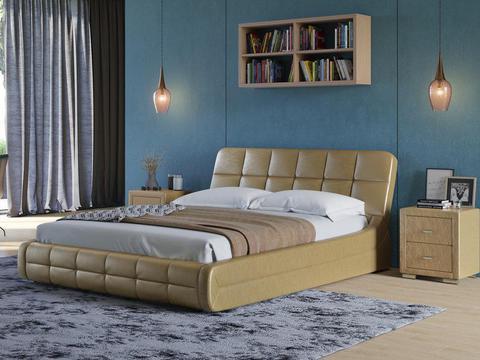 Кровать двуспальная Corso 6 Экокожа Sprinter Gold