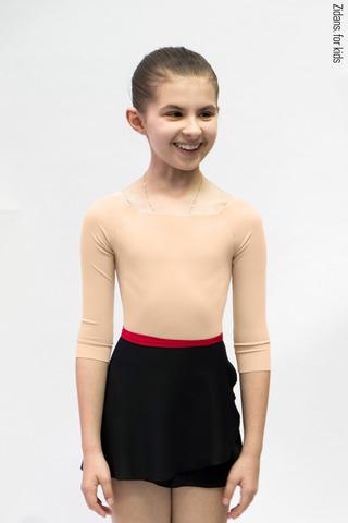 Детский комплект: купальник 2 Рукава телесный + юбка