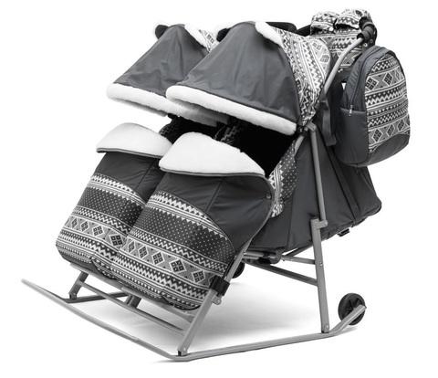 Санки коляска для двойни TWIN серый