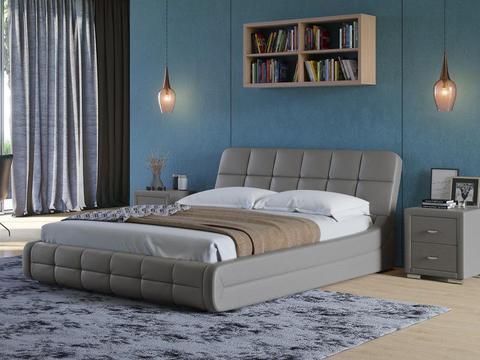 Кровать двуспальная Corso 6 светло-серая
