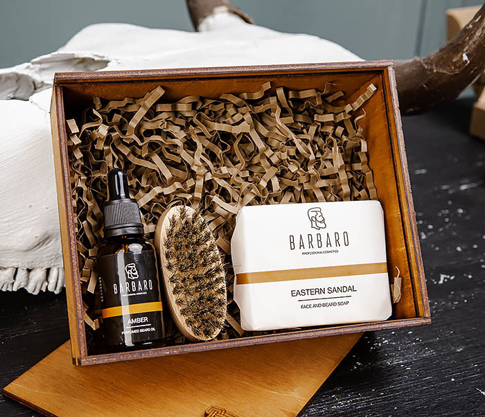 Мужской набор «BARBARO» из мыла, масла для бороды и щетки