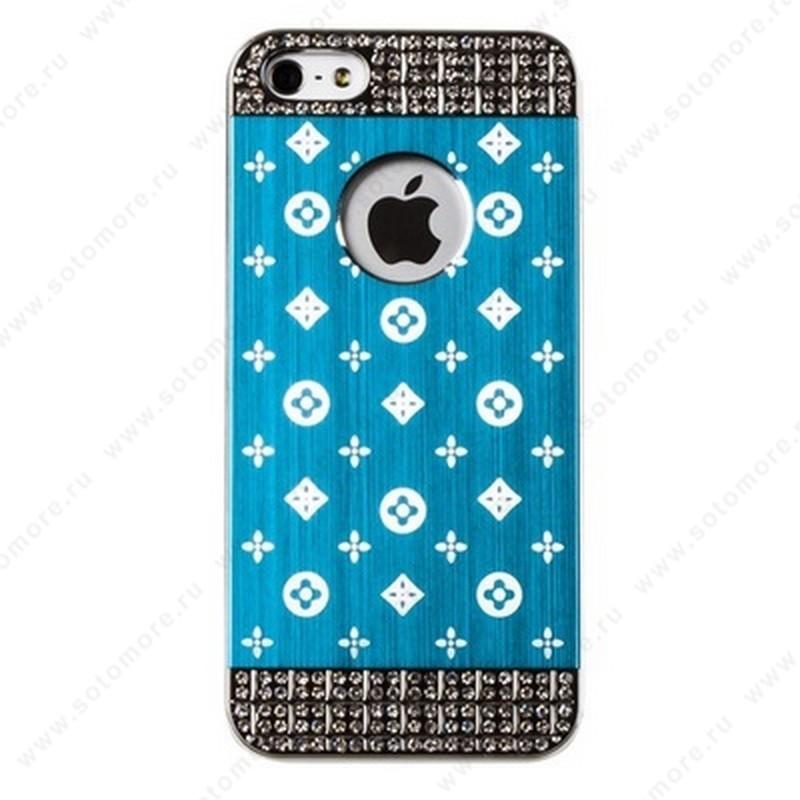 Накладка LV металлическая для iPhone SE/ 5s/ 5C/ 5 серебро голубая