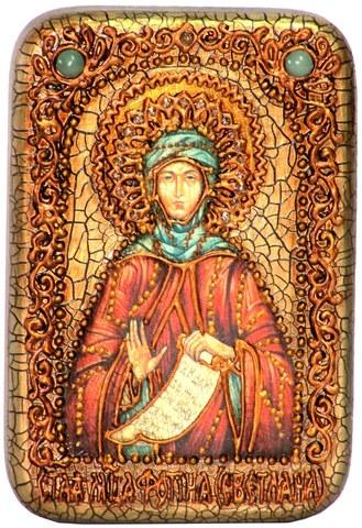 Инкрустированная Икона Преподобная Фотиния (Светлана) Палестинская 15х10см на натуральном дереве, в подарочной коробке