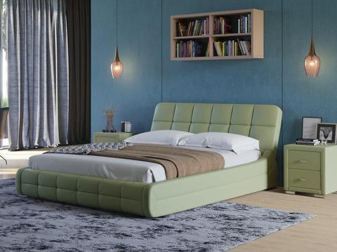 Кровать двуспальная Corso 6 Экокожа олива