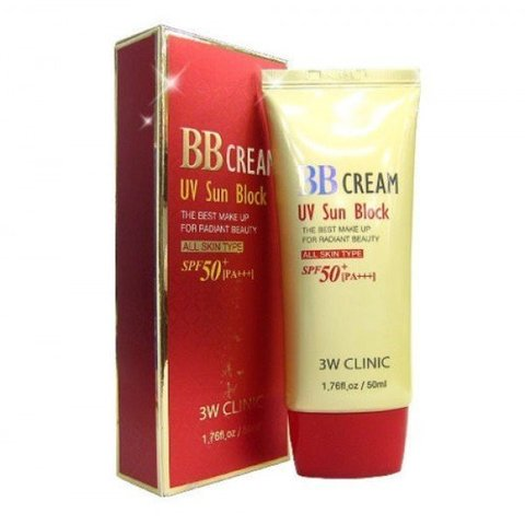 3W CLINIC Солнцезащитный BB крем для лица BB Cream UV Sun Block, 50 мл