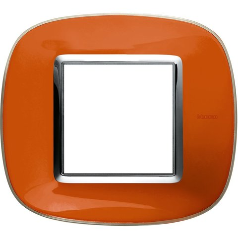 Рамка 1 пост, овальной формы. ПРОЗРАЧНЫЕ. Цвет Апельсиновая карамель. Немецкий/Итальянский стандарт, 2 модуля. Bticino AXOLUTE. HB4802DR
