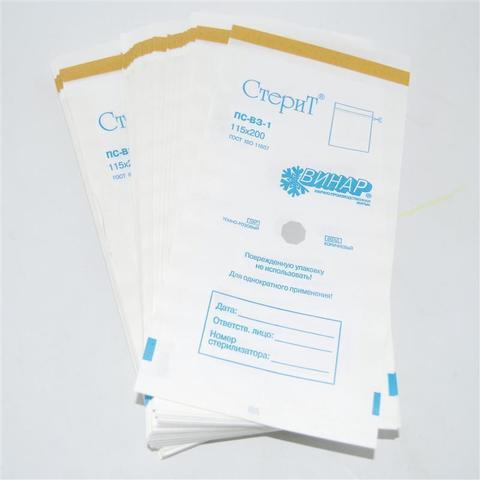 Крафт-пакеты белые 80*150 мм с индикатором (10 шт)