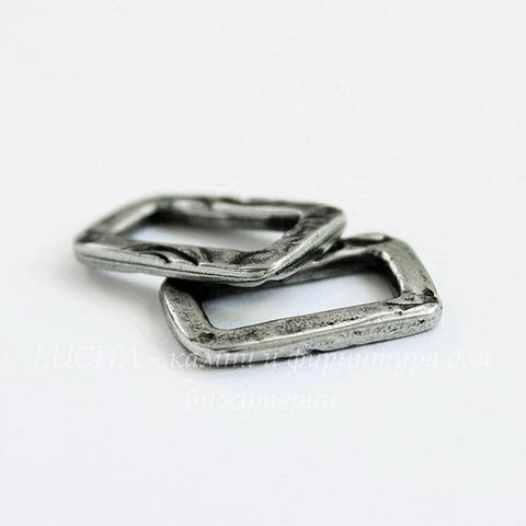 "Коннектор прямоугольный TierraCast ""Жардин"" 17х11 мм (цвет-античное серебро)"