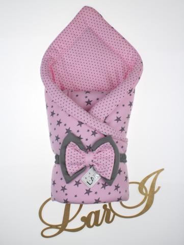 Конверт одеяло Звездопад (розовый\горошек)