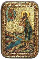Инкрустированная Икона Преподобный Алексий, человек Божий 15х10см на натуральном дереве, в подарочной коробке
