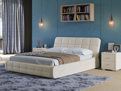 Кровать двуспальная Corso 6 Экокожа Sprinter Pearl