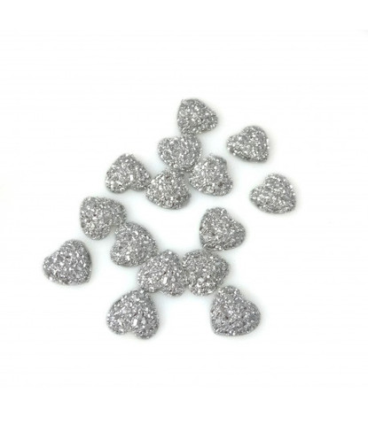 205 стразы сердечки серебряные 15 шт