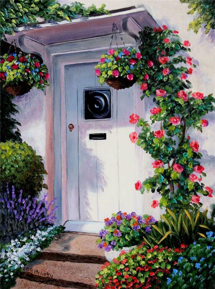 Картина раскраска по номерам 40x50 Белая дверь в цветах ...