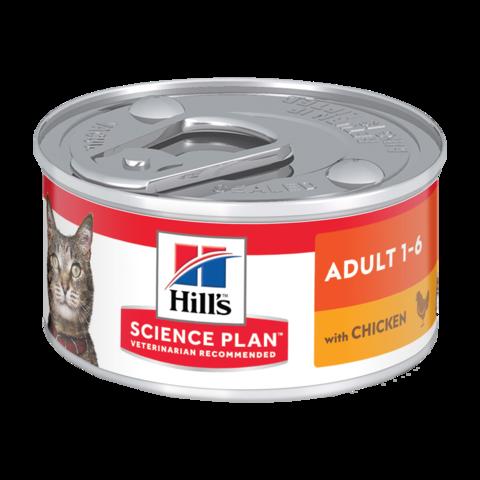 Hill's Science Plan Adult Chicken Консервы для взрослых кошек для поддержания жизненной энергии и иммунитета паштет с курицей