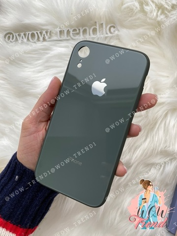Чехол iPhone XR Glass Pastel color Logo /forest green/