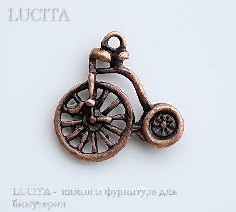 """Подвеска """"Велосипед"""" 17х17 мм (цвет - античная медь)"""