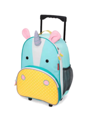 Детский чемодан с выдвижной ручкой на колесиках Единорог