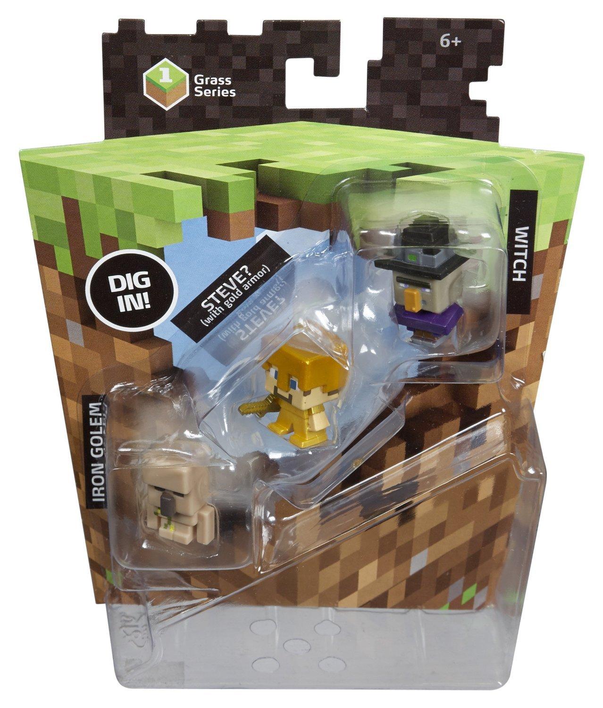 Мини-фигурки Майнкрафт (Minecraft) Ведьма, Стив в золотых доспехах, Железный Голем