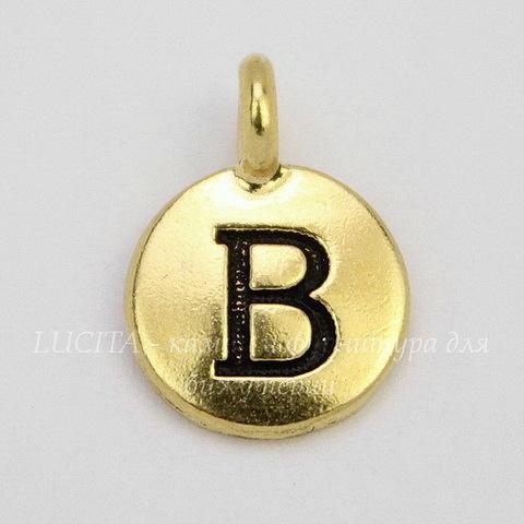 """Подвеска TierraCast """"Буква B"""" (цвет-античное золото) 17х12 мм"""