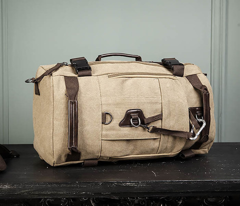 Вместительная сумка рюкзак из ткани цвета хаки
