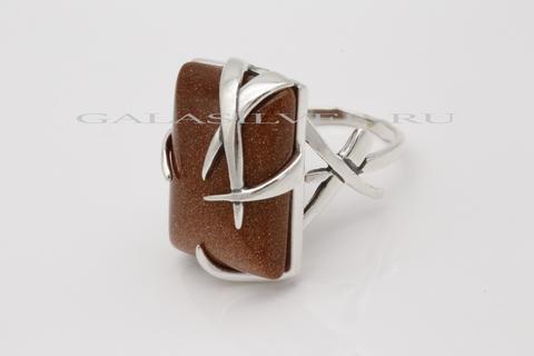 Кольцо с авантюрином из серебра 925