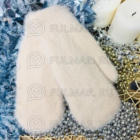 Варежки женские зимние пушистые (цвет: Бежевый)