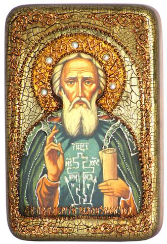 Инкрустированная Икона Преподобный Сергий Радонежский чудотворец 15х10см на натуральном дереве, в подарочной коробке