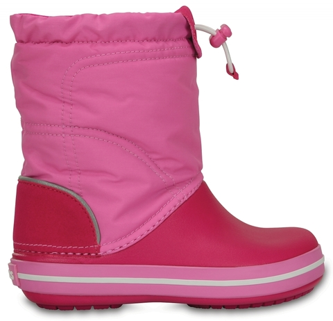 Детские зимние сапожки Crocs Kids' Crocband LodgePoint Boot Candy Pink/Party Pink