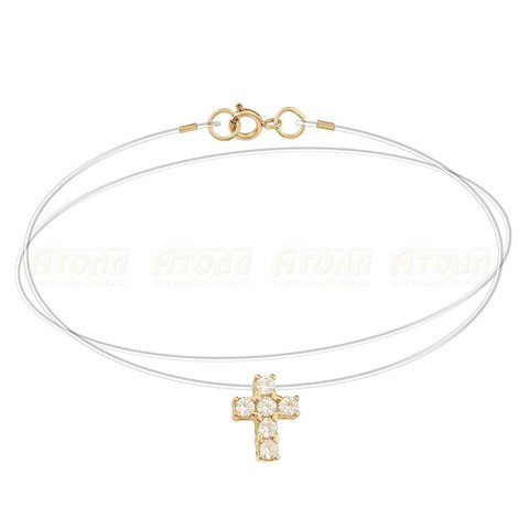 Золотой крестик на леске-невидимке с замками из золота 585 пробы