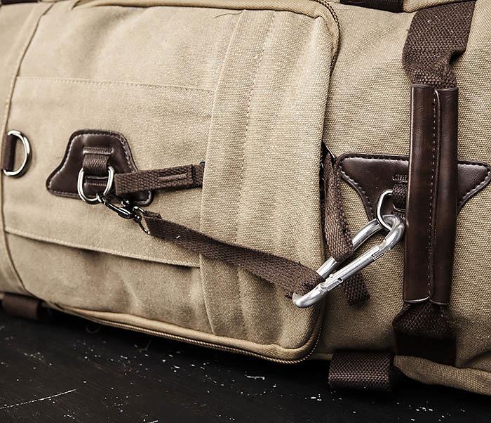 BAG479-2 Вместительная сумка рюкзак из ткани цвета хаки фото 04