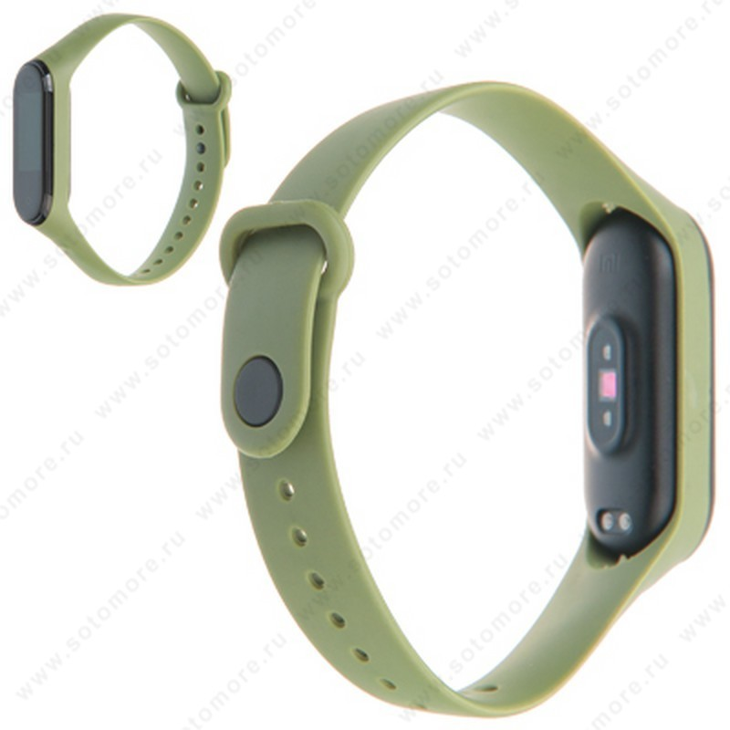 Ремешок для фитнес-браслет Xiaomi Mi Band 3/ 4 силиконовый матовый зеленый
