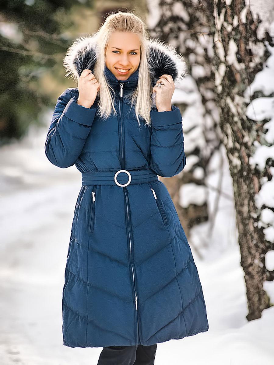 Joutsen пуховик Emilie темно-синий - Фото 1