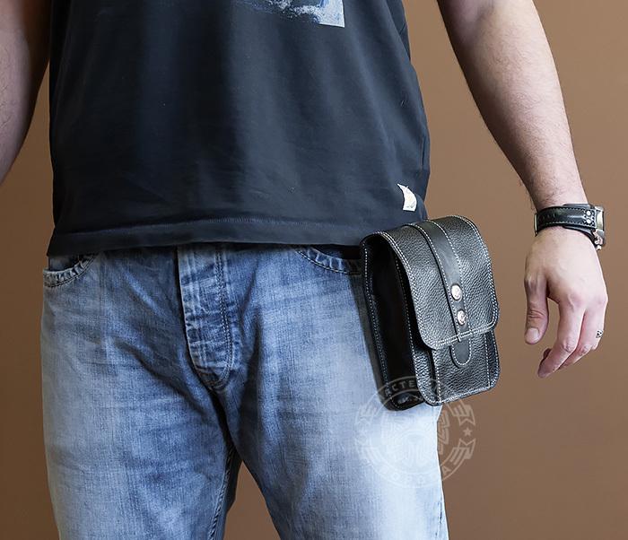 BAG379-1 Мужская сумка на пояс из натуральной кожи, ручная работа фото 06