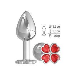 Серебристая анальная втулка с клевером из красных кристаллов - 7 см.